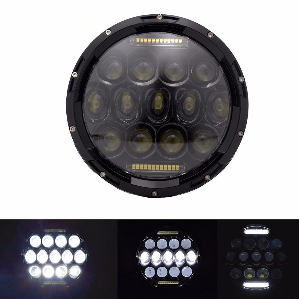 1piece 7inch 75W 4800lm H4 H13 Hi/Lo Beam LED Headlight with White DRL For Wrangler JK TJ LJ Harley-Davidson Motorcycle colorful hi low beam round 7 led headlight head light with bulb drl angle eye for wrangler tj lj jk cj harley motorcycle 7inch