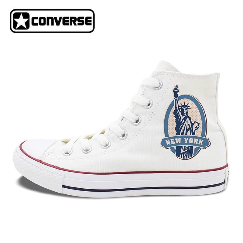 High Top Canvas Sneakers Converse Chuck Men Women's Gifts Design US New York Statue of Liberty Postmark Skateboarding Shoes