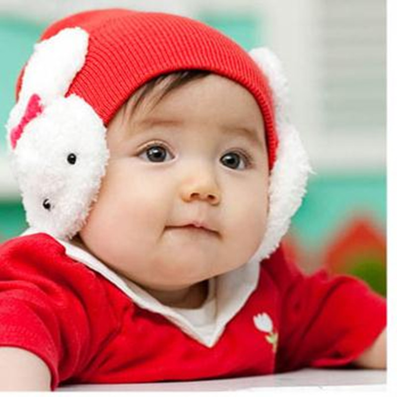 Fashion New Baby Double Rabbit Hat Autumn Winter Knitting Wool Cute Kids Boy Girl Cap Bonnet Beanies Accessories Wholesale MZ005 the new children s cubs hat qiu dong with cartoon animals knitting wool cap and pile