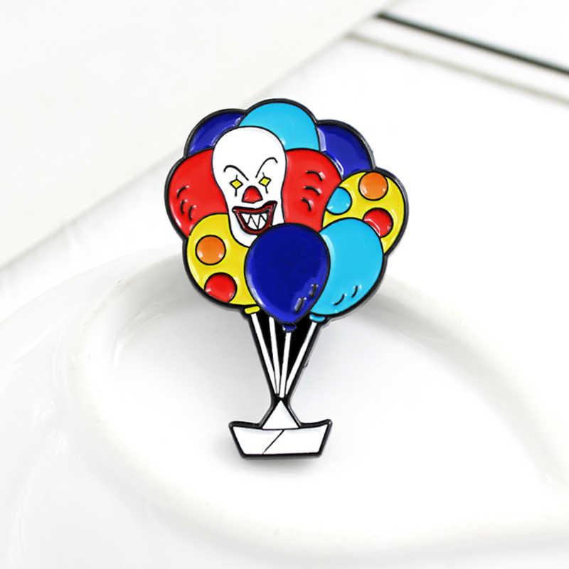 Clown Ballon Brosche Regenbogen Farbe Heißer Luft Ballon Glück schiff Cartoon Emaille brosche Süße nette abzeichen Kinder geschenk Rucksack pin
