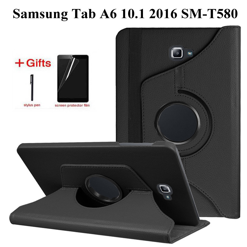 360 Rotating PU Leather Case for Samsung Galaxy Tab A 10.1 2016 T580 T585 Stand Cover for Samsung Tab a 10.1 T580N Case+Film+Pen