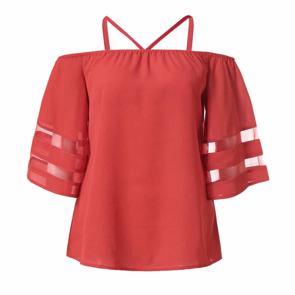 נשים כבויה כתף חולצה בתוספת גודל חולצות סלאש צוואר Loose למעלה חולצה boho blusas mujer דה moda 2019 #5 $