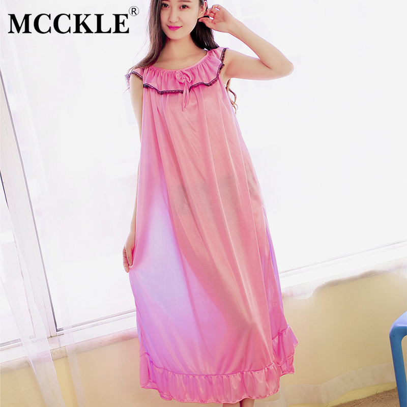 Women Lace Ice Silk Ruffled Sleeveless Night Dress Patchwork Bowtie 2019 Spring Summer Sleepwear Female Nightwear   Nightgown