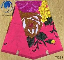 LIULANZHI african wax fabric fashion printed flower pink fabrics for women dress ankara real 6yards TJ132-T-TJ149