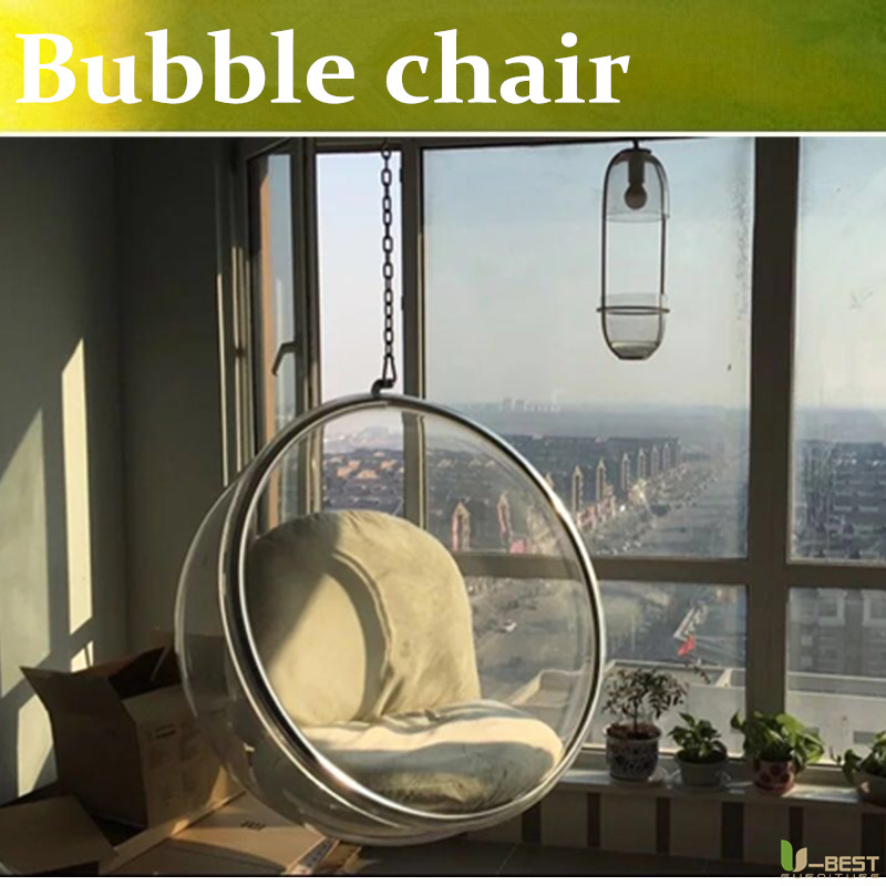 U-BEST transparent hanging eero aarnio hanging acrylic replica bubble chair Suspendend bubble chair u best replica eero aarnio half dome chair with fibreglass and high quality pu leather