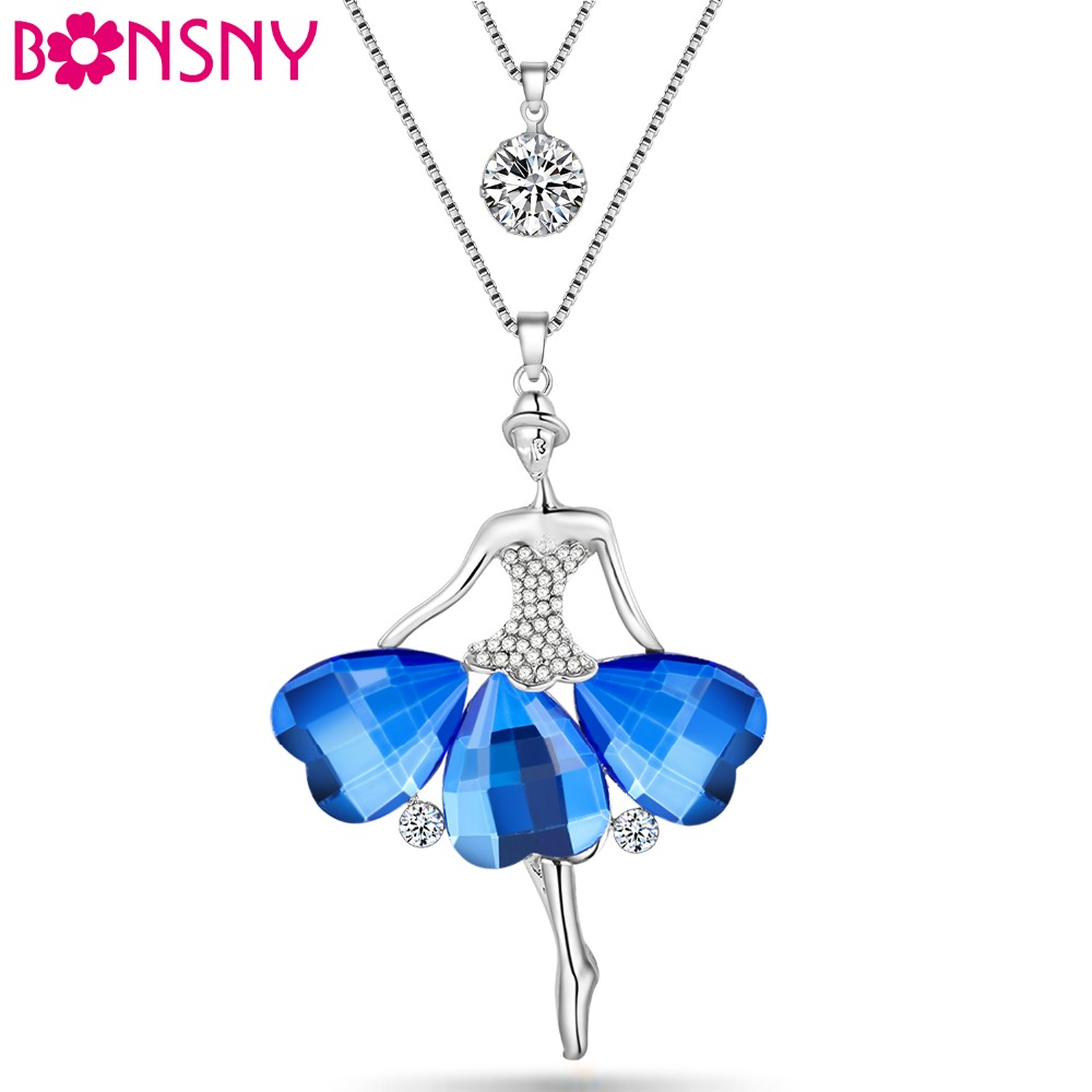 Bonsny Enamel Jewelry Dance Ballet Girl Fairy Angel Necklace Chain Alloy Maxi Statement News Collar Choker Necklace прибор для авто oem 3 in1 12v 24v 68050