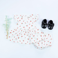 Summer Baby Girl Dress Cherry Pattern Cotton Sleeveless Daily Wear Party Dress Pp Diaper Harem Shorts