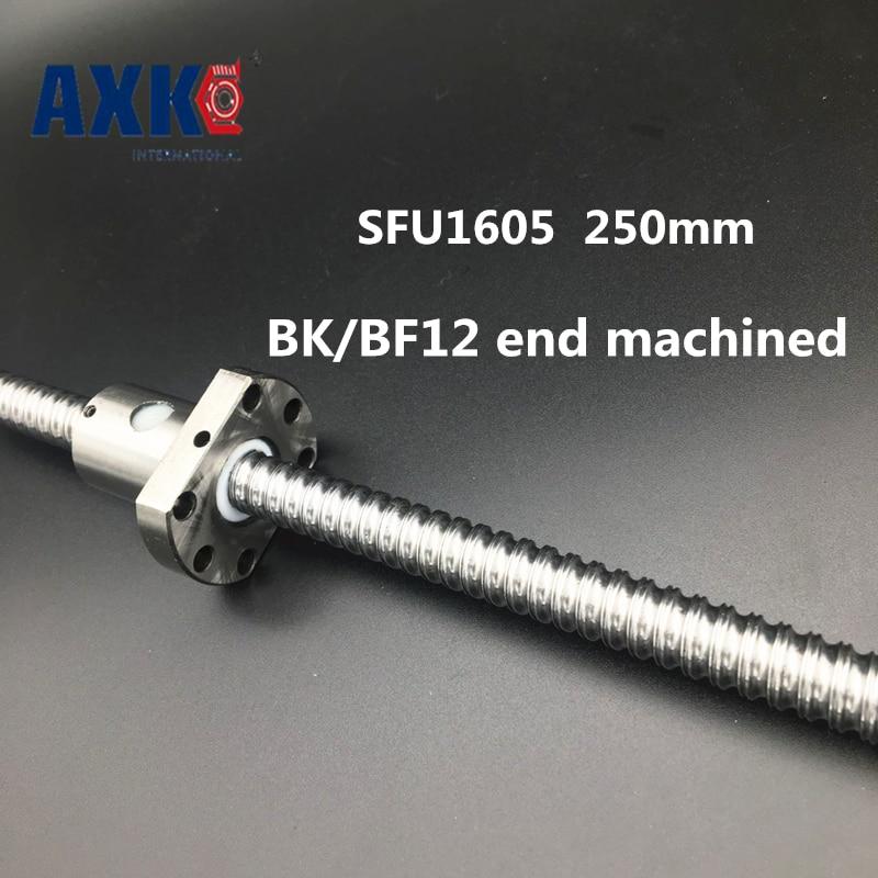 2018 Axk Free Shipping Sfu1605 250mm Rm1605 Rolled Ball Screw 1pc+1pc Ballnut + End Machining For Bk/bf12 Standard Processing 1pcssfu1605 1000mm rolled ball screw 1pcs ballnut end machining for bk bf12 standard processing
