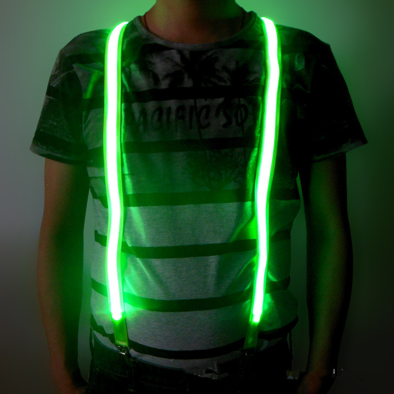 Printed LED Suspenders Men Three Clips-on Braces Vintage Mens Suspender For Trousers Husband Male Suspensorio For Skirt