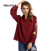 Merched Elegant Floral Embroidery V Neck Women Blouses Casual Loose Pullover Patchwork Shirts Luxury 4XL 5XL