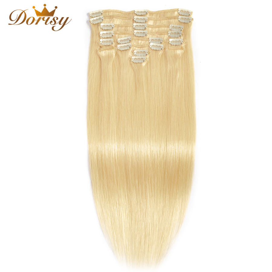 Clip In Human Hair Extensions 613 Blonde Clip In Human Hair Full Head 8 Pcs Set