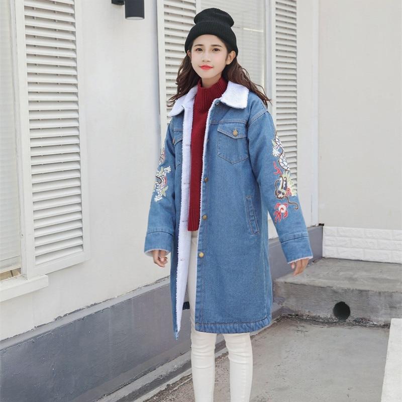 Épais 2018 Cowboy D'hiver Veste Chaud Tq104 De Slim Broderie Longue Et Externe Agneau Blue Femmes Automne Nouvelles Manteau Coton vqnw67Erv0