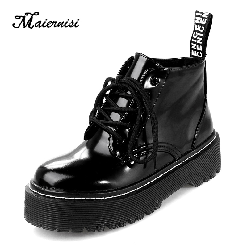 MAIERNISI fashion leather platform women boots high heel shoes quality girls Strap Ladies Plus Size