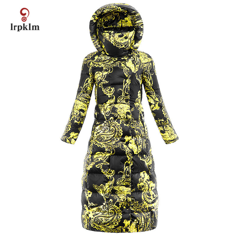 2017 Luxury New Fashion Women Winter X-Long Down Jackets With Hooded Collar Female Warm Duck Down Coat Printing PQ135