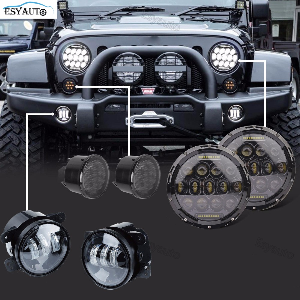 7 inch 75W Headlights Black Round headlamp+4 LED Fog Lights+Amber Front Turn Signal Light Assembly Side lamp for Jeep 6Pcs/set