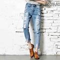 plus size denim jeans women spring autumn 2016 bermuda feminina hole jeans female thin haroun pants female A0907