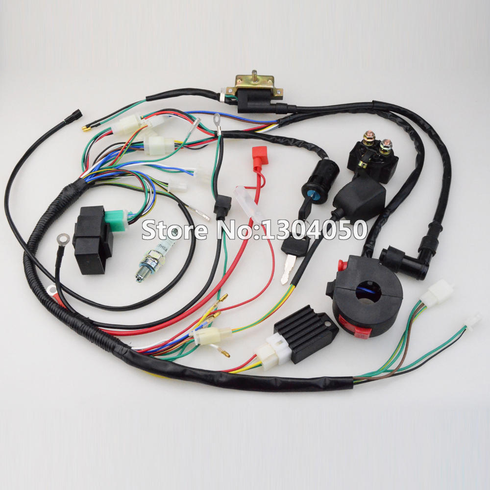 где купить  FULL WIRING HARNESS CDI IGNITION COIL KILL KEY SWITCH NGK SPARK PLUG 50 70 90 110 125cc ATV QUAD BIKE BUGGY free shipping  дешево