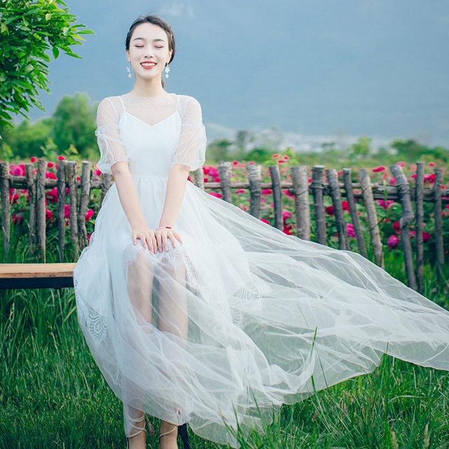 e2f38792203 Mesh Perspective Lace White Black Dress Summer Slim Thin Bohemian Vacation  women wear dress Fairy Zipper long tank ladies dress