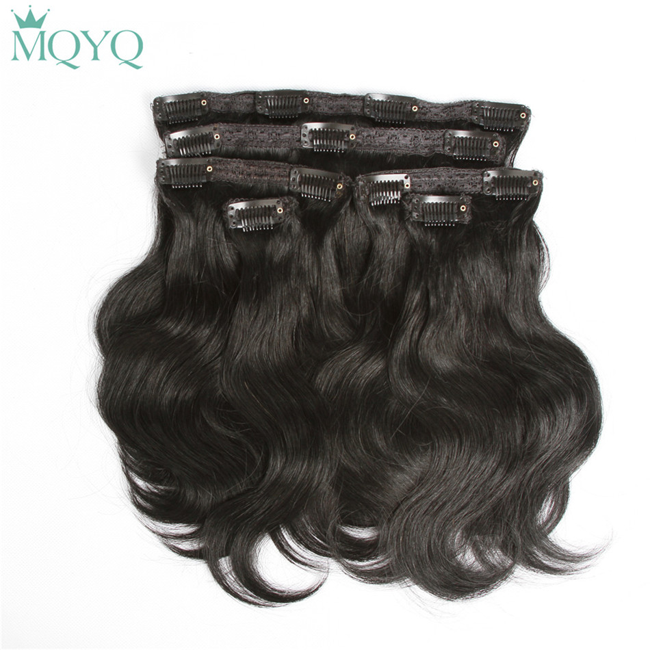 MQYQ Hair Body Wave Clip in Hair Extensions #1 Jet Black 100% Real Human Hair 6pcs Brazilian Clip on Hair Extension