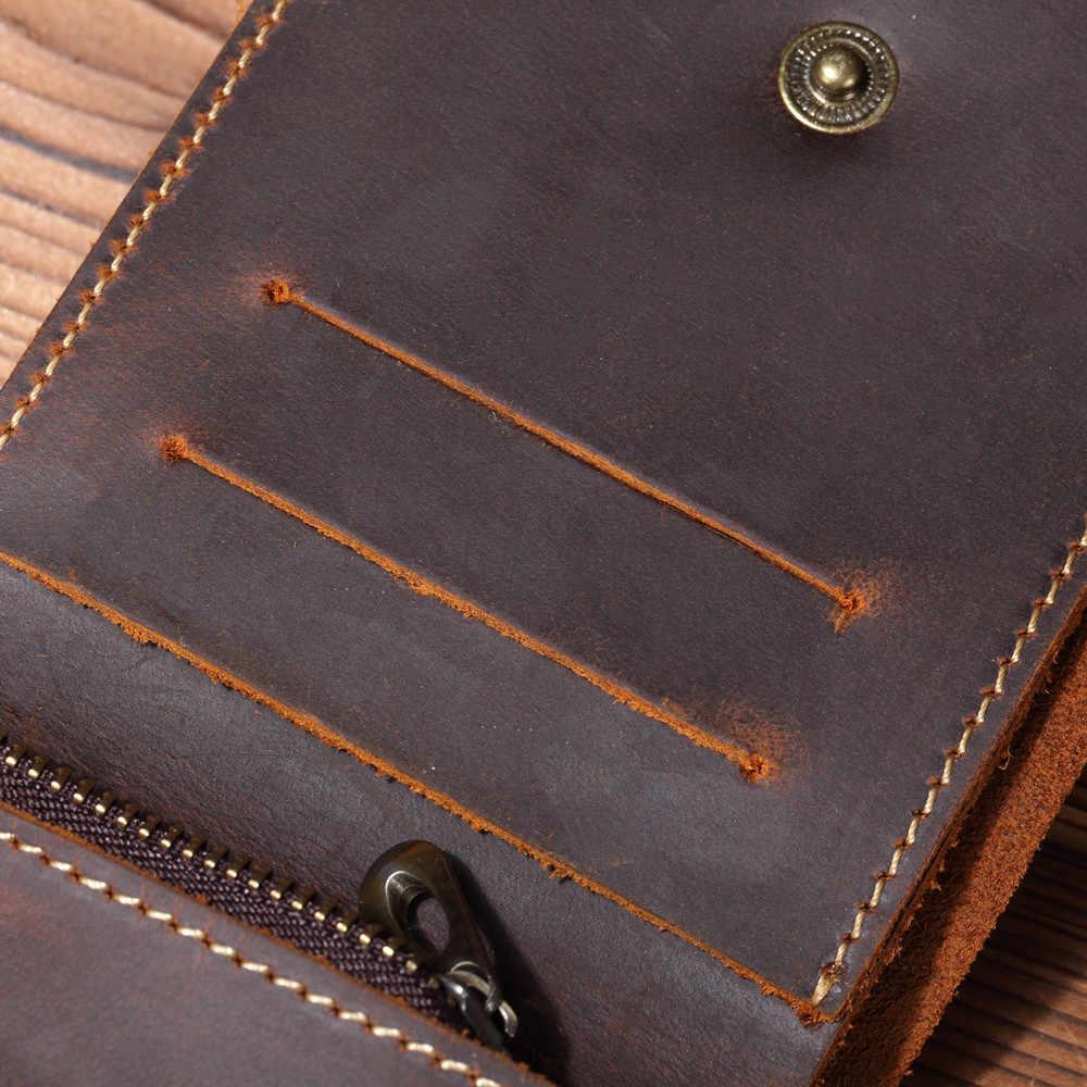 Cartera de cuero Vintage para hombre con cremallera bolsillo hecho a mano monedero de cuero genuino corto para hombre diseño creativo 2018 nuevo