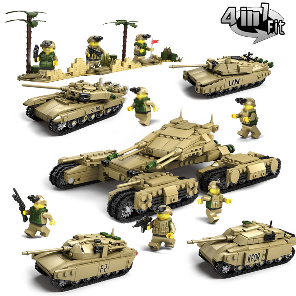 KAZI 4sets/lot Military Building Blocks DIY Army Classic War Tank Bricks Toys Set Christmas Gifts For Kids Compatible With Legoe kazi 228pcs military ship model building blocks kids toys imitation gun weapon equipment technic designer toys for kid