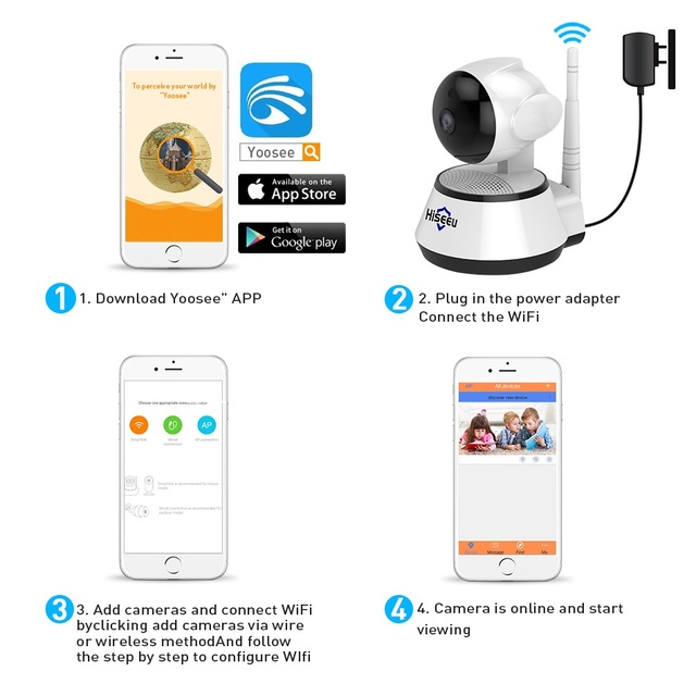 Home Security IP Camera Wireless Smart WiFi Camera WI-FI Audio Record Surveillance Baby Monitor HD Mini CCTV Camera Hiseeu 1080P 4