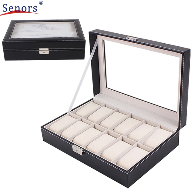 superior large watch display case jewelry box leather glass 12 superior large watch display case jewelry box leather glass 12 slots men black new oct 20