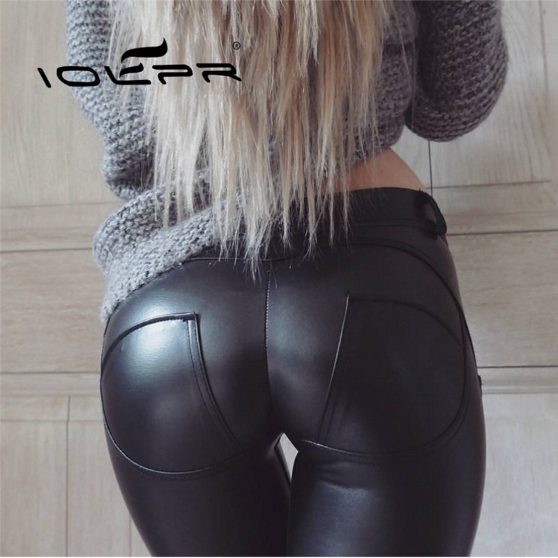 IOLPR women   leggings   Women Peach hip Pants PU Leather Pencil stretch Skinny   leggings   fitness   leggings   Plus size pencil pants
