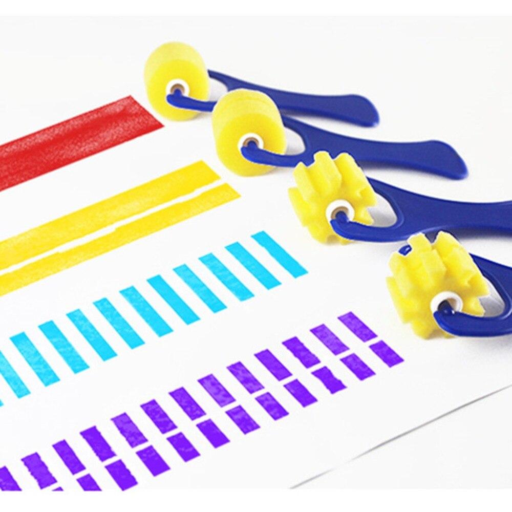 4 PCS Seal Sponge Painting Brush Yellow Sponge Brush Original Wooden Handle Children's Painting Brushes