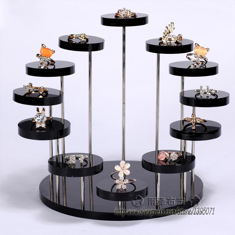 Модный многослойный акриловый стеллаж для демонстрации колец, держатель для сережек, кулон, драгоценный камень, витрина, Ювелирный стенд, настольная подставка - Цвет: Black