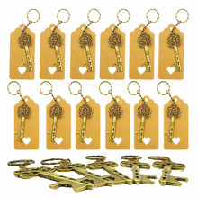 50pcs/set Classic Creative Bronze Chain Key Beer Bottle Opener Anniversary Wedding Decorations Party Supplies Gifts for Guests