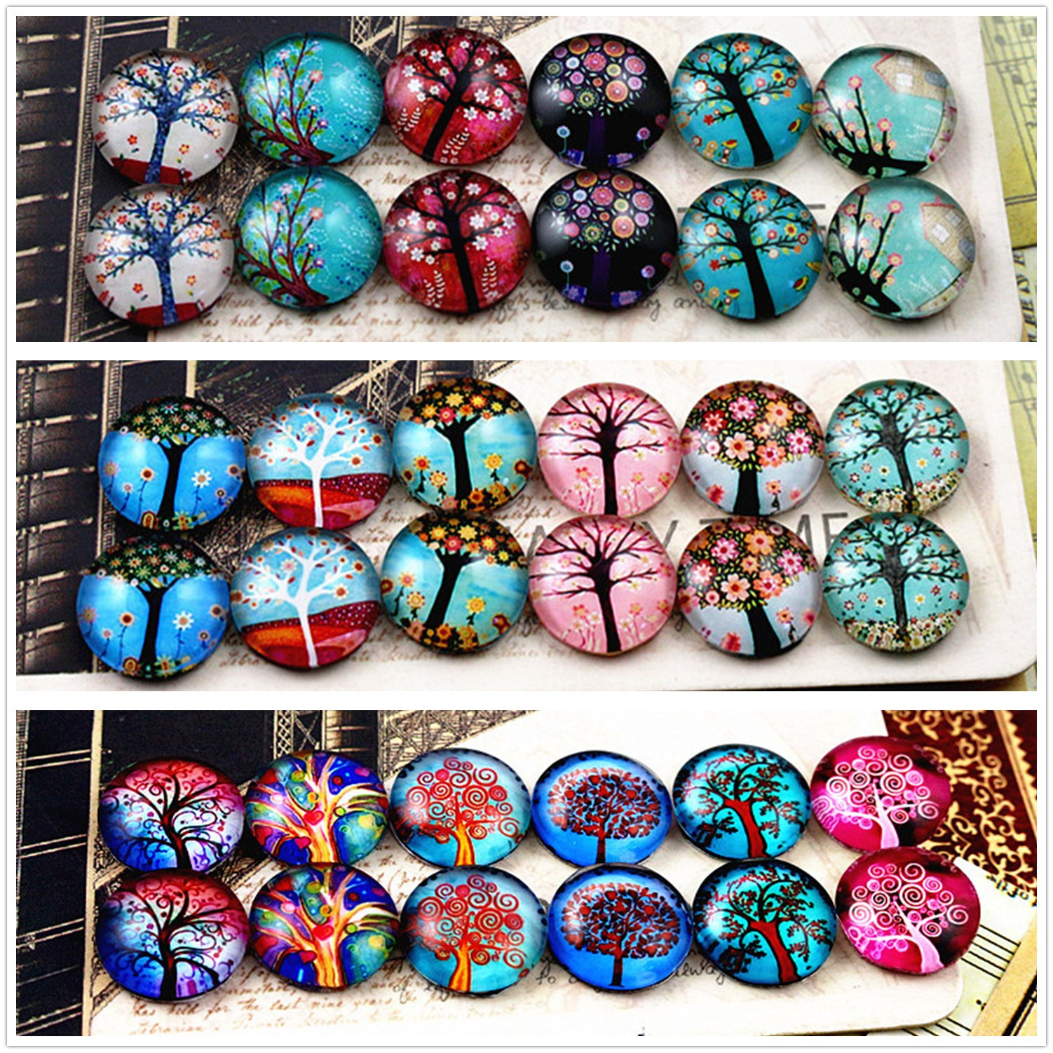 12pcs/lot (One Set) Three Style Fit 12mm Fashion Tree Handmade Glass Cabochons Pattern Domed Jewelry Accessories Supplies 12pcs lot one set two style 12mm blue snowflakes handmade glass cabochons pattern domed jewelry accessories supplies