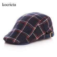 Детские клетчатые шерстяные береты для малышей на зиму и осень, шапки для маленьких мальчиков, Весенняя Милая плоская кепка От 2 до 5 лет