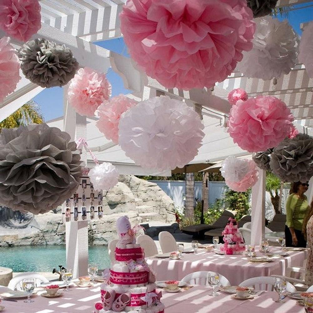 10pcs Dia 20cm Artificial Paper Flower Balls Wedding Birthday Party