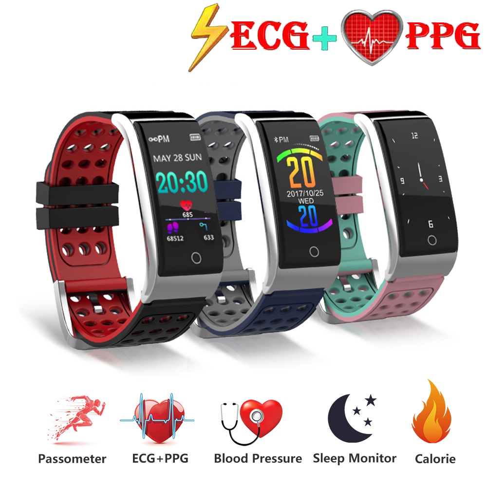 Braccialetto intelligente Inseguitore di Fitness Heart Rate Monitor ECG + PPG Intelligente Wristband Misuratore di Pressione Sanguigna Intelligente Watch Band per IOS Android telefono