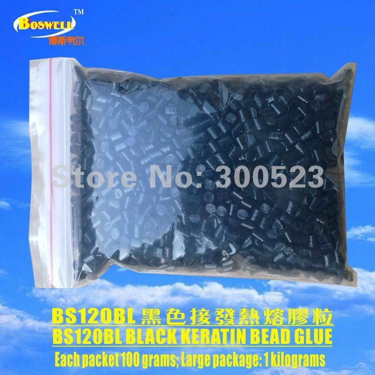 black hair extension glue bead, keratin bead glue,1kg/lot,Free Shipping 1kg lot 100