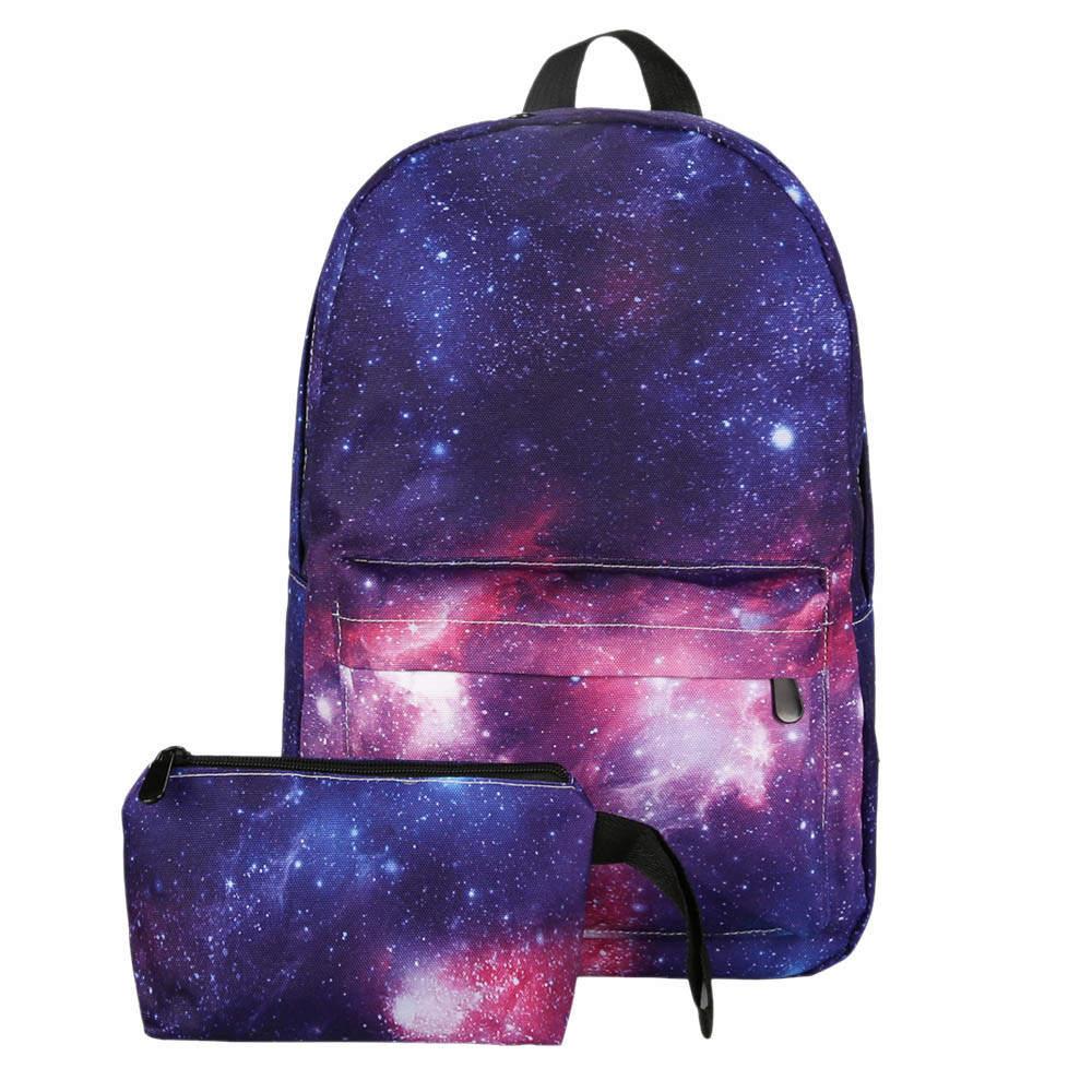 2 Sets Canvas Backpack School Girl Teenagers Girl Stars Travel Backpack Rugzak