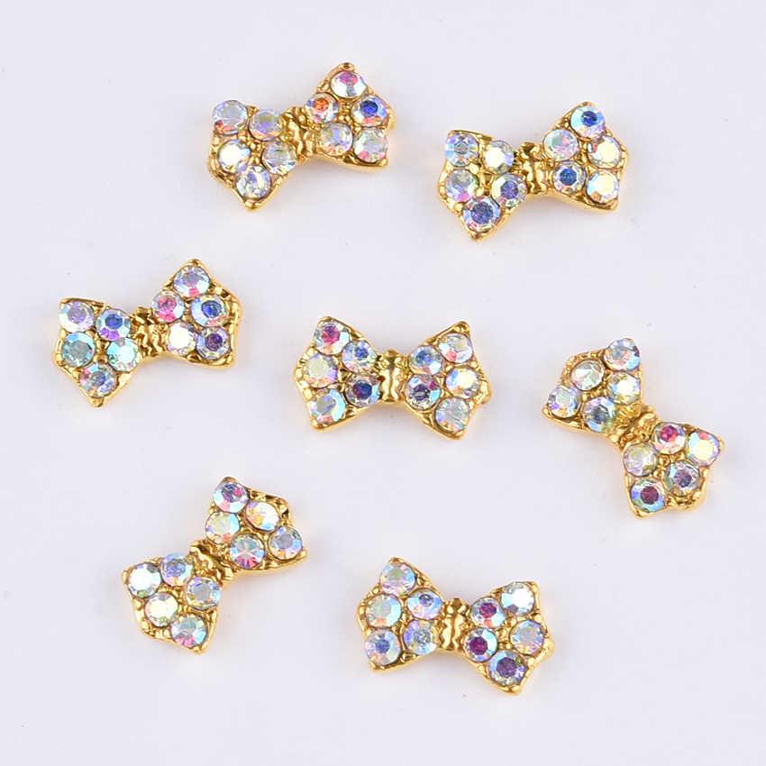 0e22159a39 10pcs New design gold nail bows in crystal opal rhinestones nail art  decorations charms 2018 nails dekor supplies TCJ220