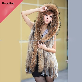 harppihop Fashion classic rabbit fur vest real fur  outerwear fur knitted tassel long design hooded vest without belt 1