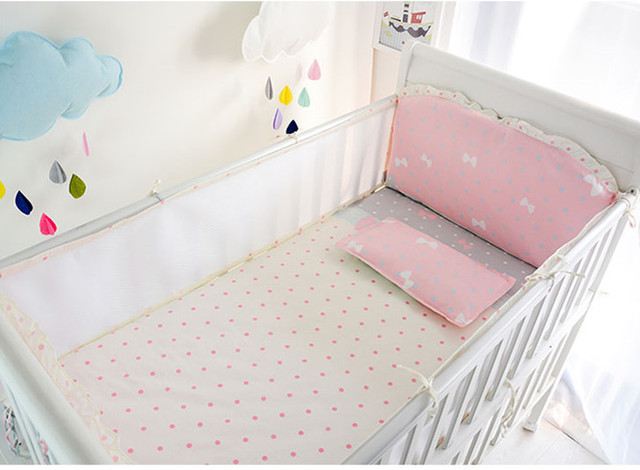 Promotion! 6PCS Pink Bow Cotton Crib Baby Bedding Sets Child Game Toy Baby Bed Set,include(4bumpers+sheet+pillowcase)