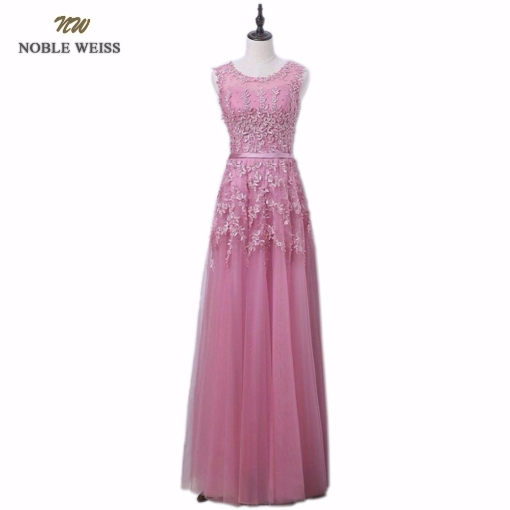 NOBLE WEISS Robe De Soiree 2018 Dust Pink Appliques Beading Sexy Long Evening Dresses Bride Banquet Elegant Floor-length Dress