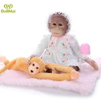 "Handmade silicone monkey baby reborn dolsl 19"" 46cm realistic Boneca macaco reborn toys for children gift Apes doll"