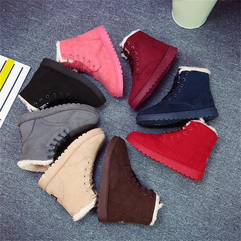 2017-New-8-Colors-Ankle-Boots-For-Women-Flat-Casual-Women-Snow-Boots-Lace-up-Warm