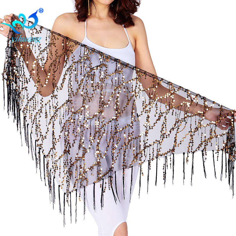 Free Shipping Belly Dance Costume Performance Hip Scarf Belly Dancing Belt Dancewear Outfits Sequined Fringe