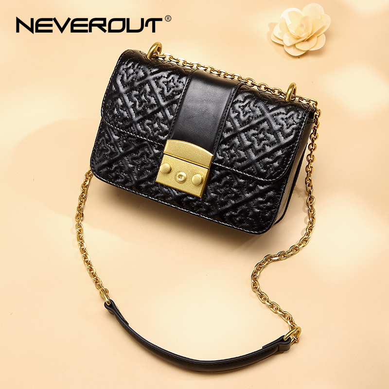 NEVEROUT Small Ladies Genuine Leather Messenger Bag black Crossbody Bags for Women 2019 Casual Thread Satchel