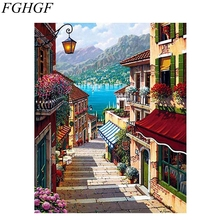 FGHGF Frameless Fountain Landscape DIY Painting By Numbers Hand Painted Oil Painting Home Decor Wall Art Picture