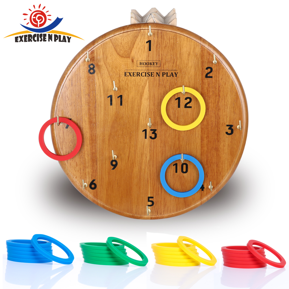 Funny Kids Outdoor Sport Toys Hoop Ring Toss Plastic Ring Toss Wooden Disc Game Set Outdoor