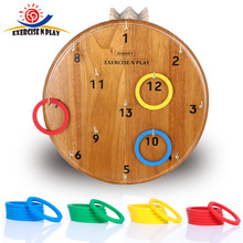 Funny Kids Outdoor Sport Toys Hoop Ring Toss Plastic Ring Toss Wooden Disc Game Set Outdoor Family Games for Adults Children(China)