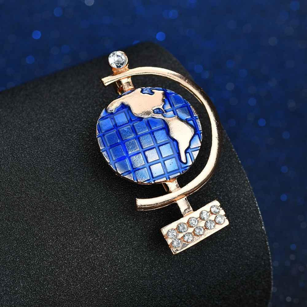 Kualitas Tinggi Enamel Biru Emas Dunia Bros Pin Lencana Hadiah Terbaik untuk Wanita Fashion Rhinestone Bros Sesuai Gaun Aksesoris