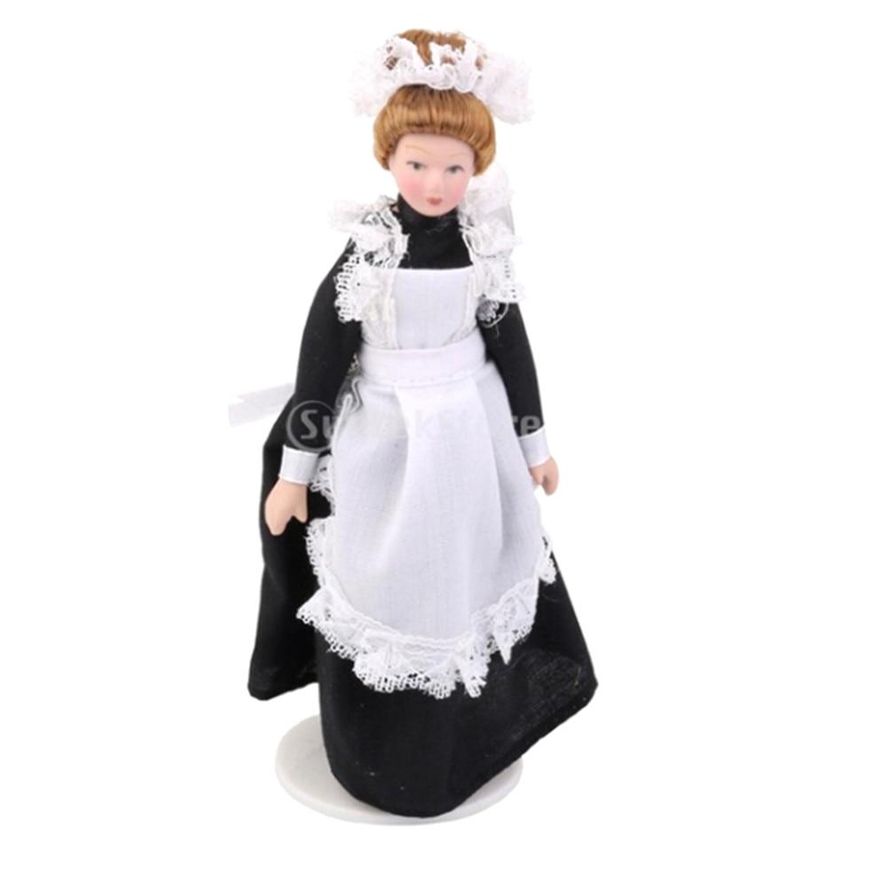 Model Western-style Dress Dolls for girl 1:12 Dollhouse Miniature Cartoon Porcelain Doll Eat to Play